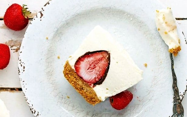 cheesecake stuffed with chocolate covered strawberries